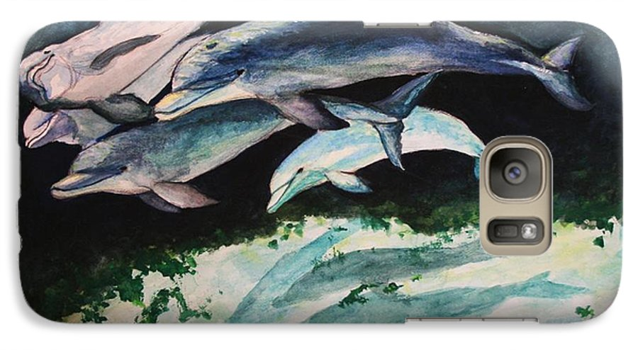 Dolphins Galaxy S7 Case featuring the painting Dolphins by Laura Rispoli