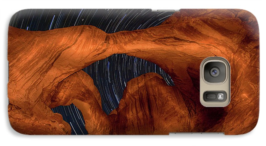 3scape Photos Galaxy S7 Case featuring the photograph Double Arch Star Trails by Adam Romanowicz