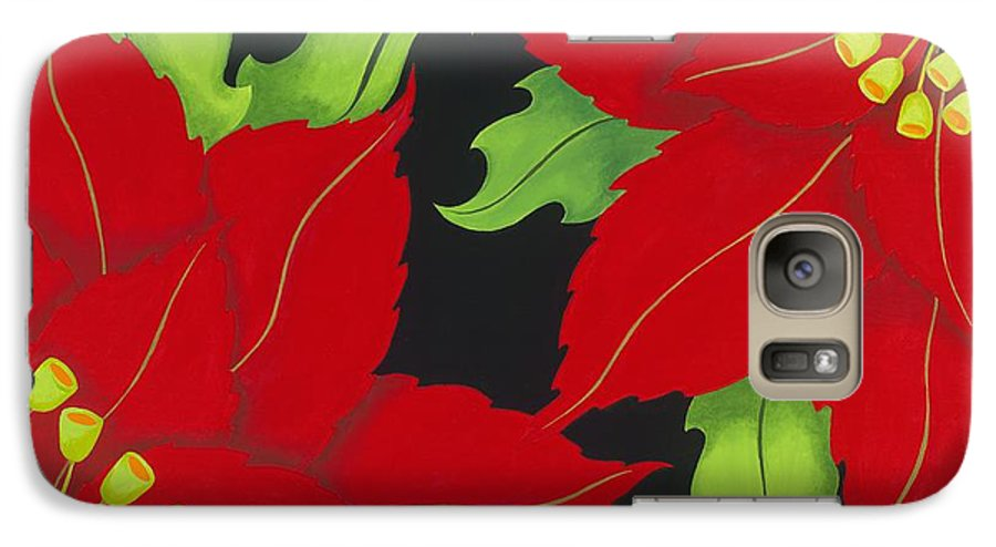 Acrylic Galaxy S7 Case featuring the painting Double Red Poinsettias by Carol Sabo
