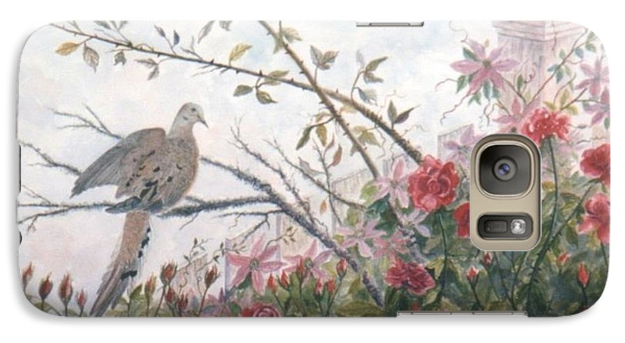 Dove; Roses Galaxy S7 Case featuring the painting Dove And Roses by Ben Kiger