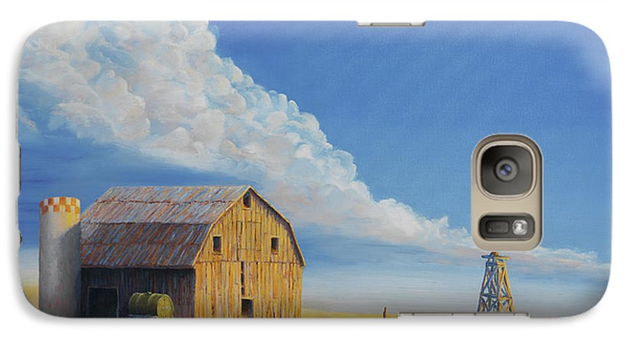 Barn Galaxy S7 Case featuring the painting Downtown Wyoming by Jerry McElroy