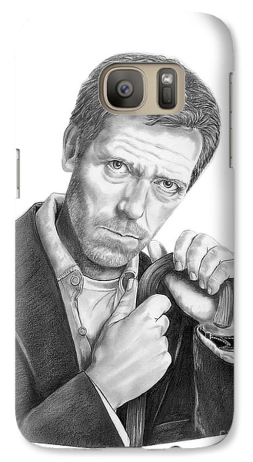 Drawing Galaxy S7 Case featuring the drawing Dr. House Hugh Laurie by Murphy Elliott