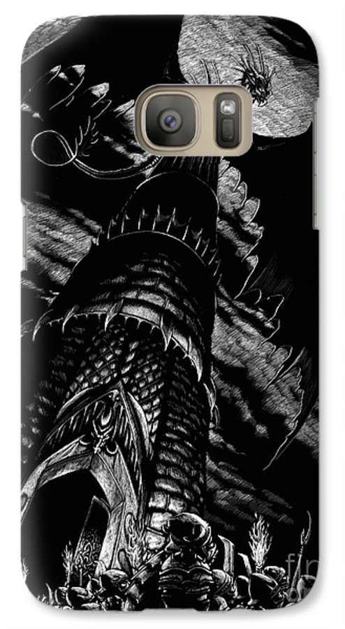Dragon Galaxy S7 Case featuring the drawing Dragon Tower by Stanley Morrison