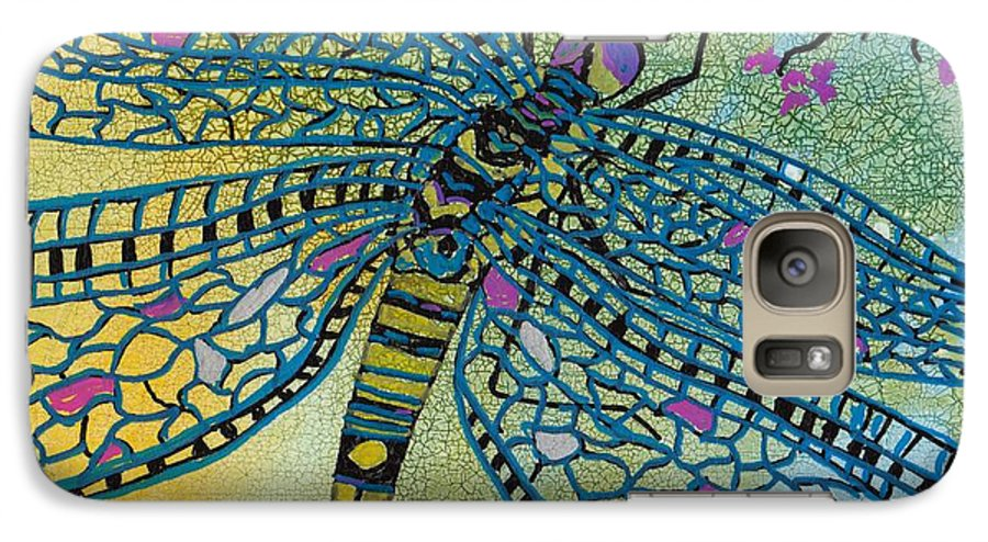 Dragonfly Galaxy S7 Case featuring the mixed media Dragonfly And Cherry Blossoms by Susan Kubes