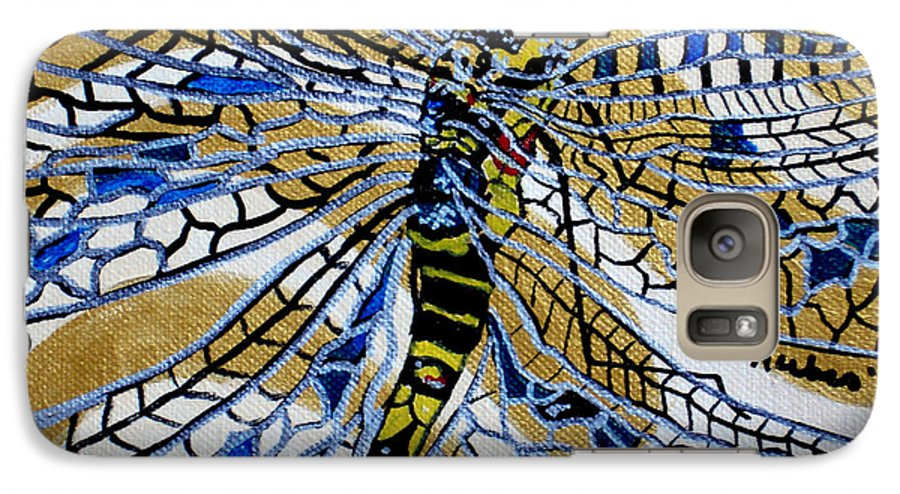 Dragonfly Galaxy S7 Case featuring the painting Dragonfly On Gold Scarf by Susan Kubes