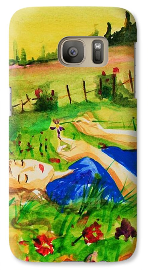 Landscape Galaxy S7 Case featuring the painting Dreaming by Laura Rispoli