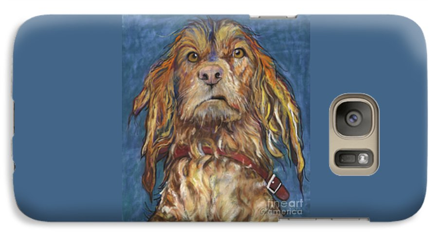 Golden Retriever Painting Galaxy S7 Case featuring the pastel Drenched by Pat Saunders-White