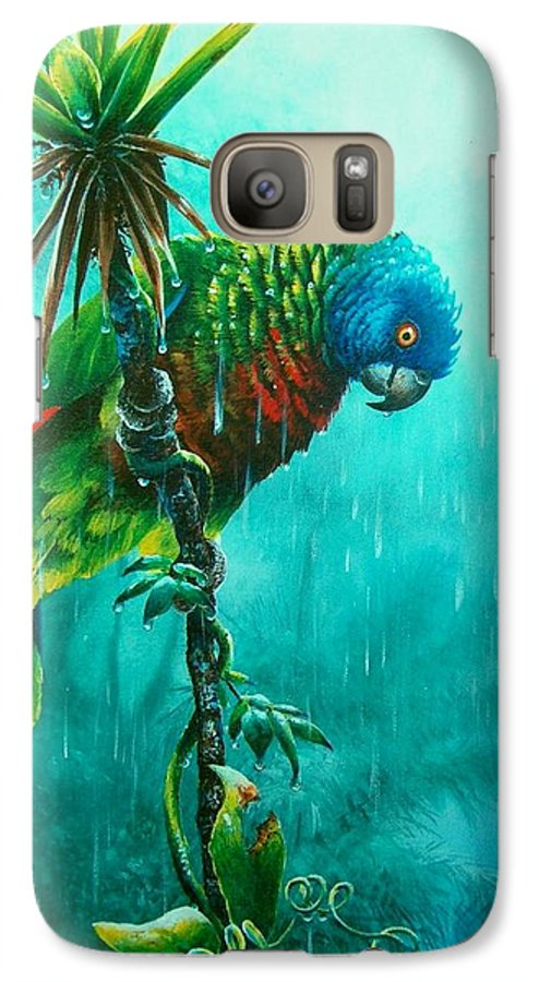 Chris Cox Galaxy S7 Case featuring the painting Drenched - St. Lucia Parrot by Christopher Cox