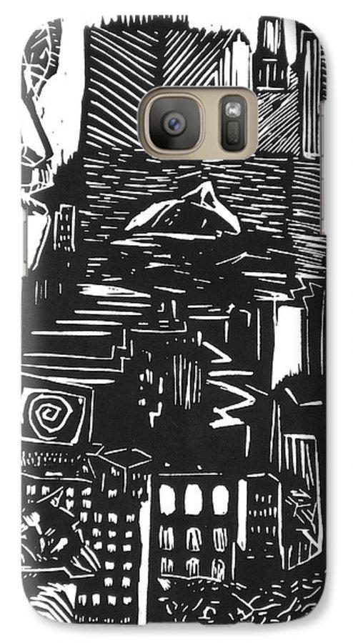 Apocalypse Buildings City Drown Lino Metropolis People Print Sheep Darkestartist Darkest Artist Black Galaxy S7 Case featuring the mixed media Drowning In Metropolis by Darkest Artist
