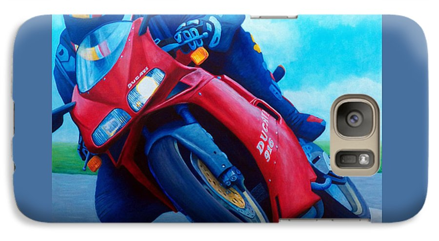Motorcycle Galaxy S7 Case featuring the painting Ducati 916 by Brian Commerford