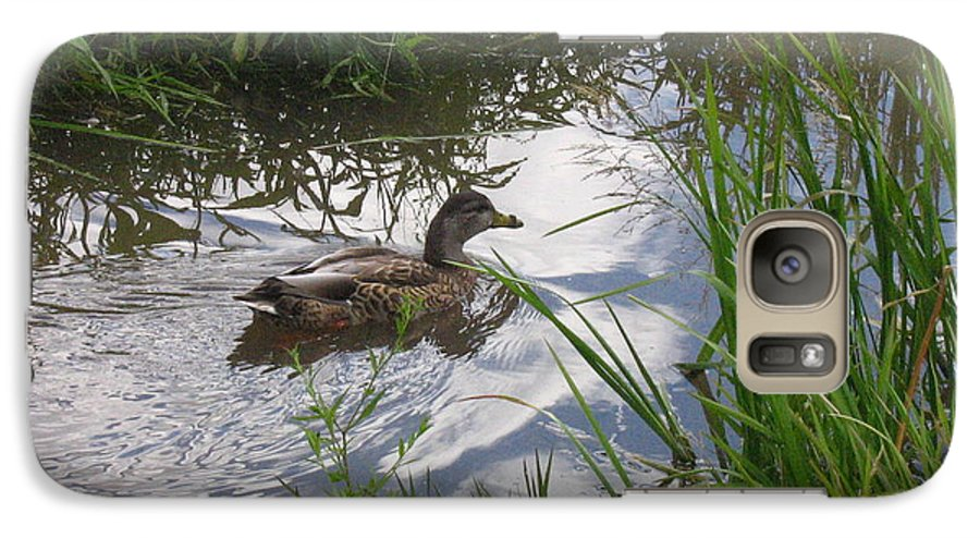 Duck Galaxy S7 Case featuring the photograph Duck Swimming In Stream by Melissa Parks