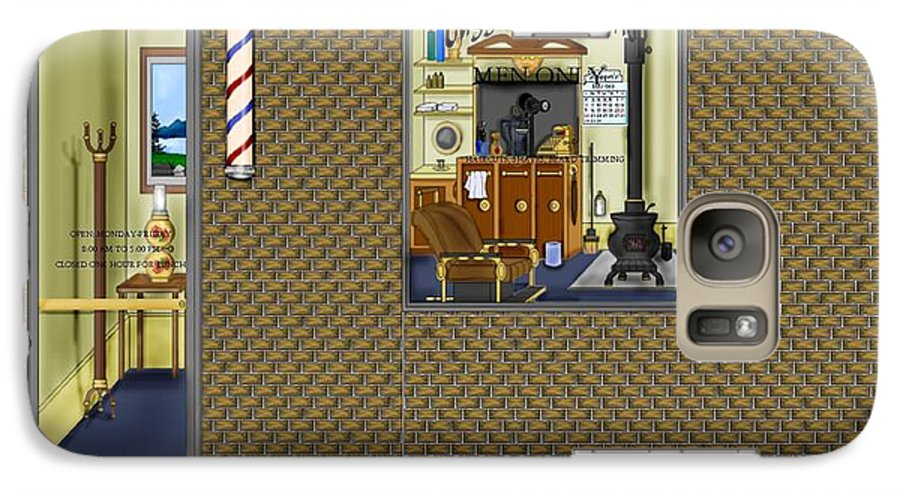 Townscape Galaxy S7 Case featuring the painting Dugger's Barber Shop by Anne Norskog