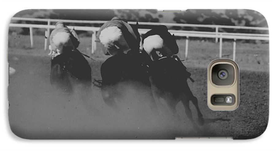 Horse Galaxy S7 Case featuring the photograph Dust And Butts by Kathy McClure