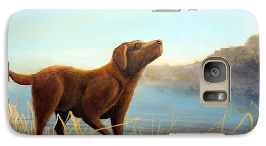 Chocolate Lab Painting Galaxy S7 Case featuring the Dutch by Rick Huotari