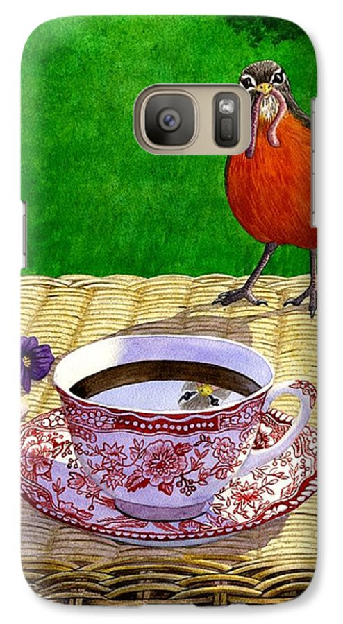 Robin Galaxy S7 Case featuring the painting Early Bird by Catherine G McElroy