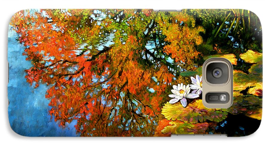 Landscape Galaxy S7 Case featuring the painting Early Morning Fall Colors by John Lautermilch