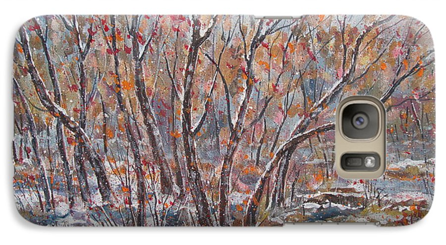Landscape Galaxy S7 Case featuring the painting Early Snow. by Leonard Holland