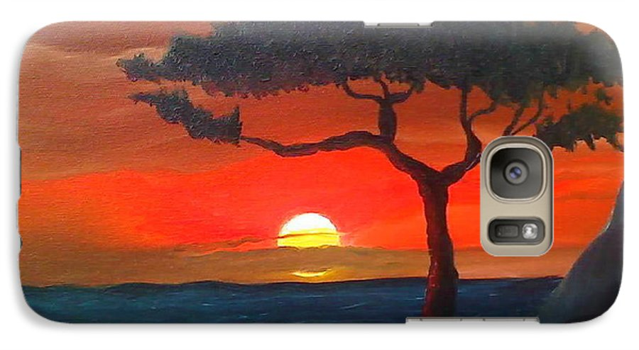 Africa! Galaxy S7 Case featuring the painting East African Sunset by Portland Art Creations