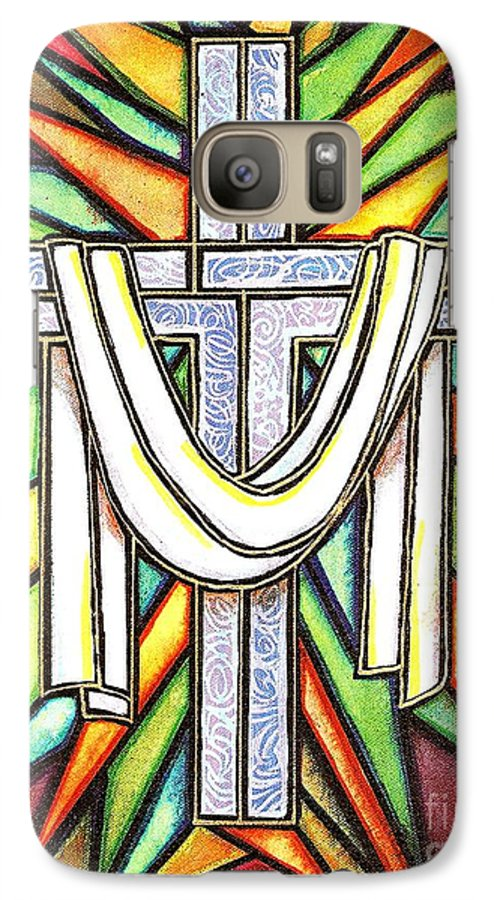 Cross Galaxy S7 Case featuring the painting Easter Cross 5 by Jim Harris