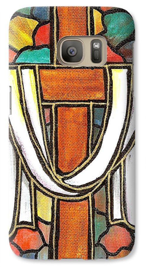 Easter Galaxy S7 Case featuring the painting Easter Cross 6 by Jim Harris