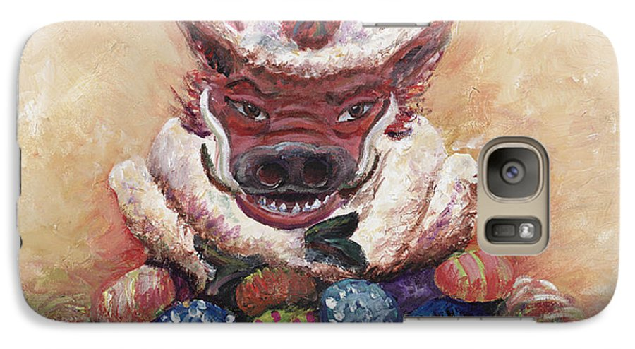 Easter Galaxy S7 Case featuring the painting Easter Hog by Nadine Rippelmeyer