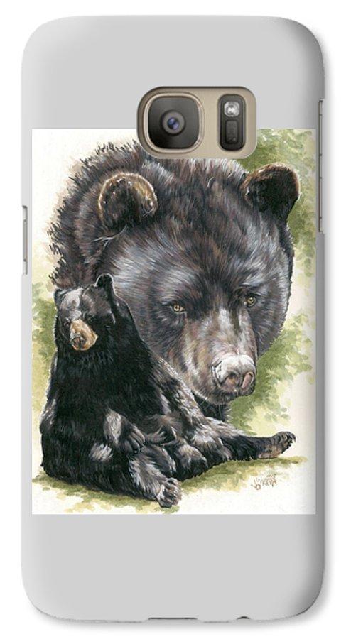 Black Bear Galaxy S7 Case featuring the mixed media Ebony by Barbara Keith