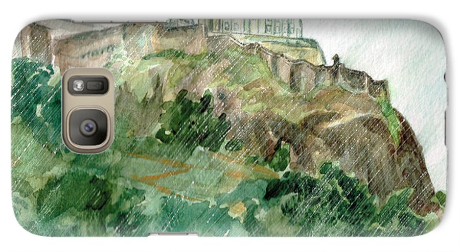 Castle Galaxy S7 Case featuring the painting Edinburgh Castle by Andrew Gillette