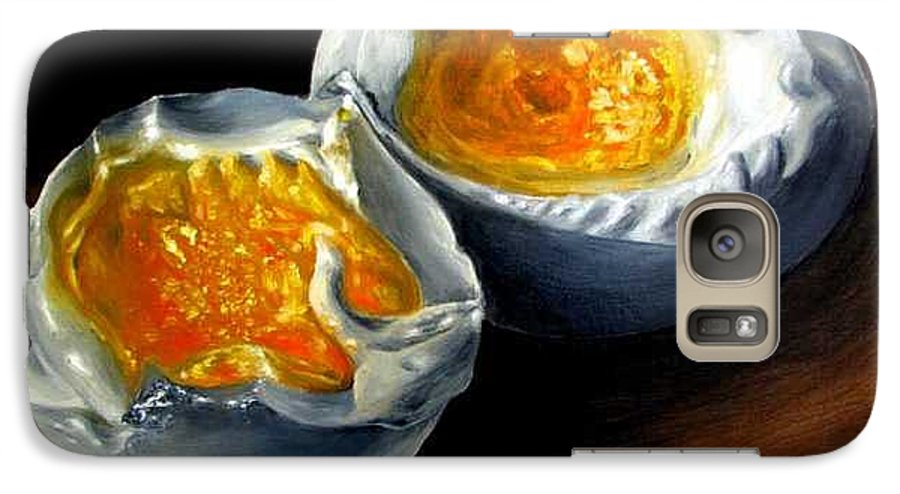 Eggs Galaxy S7 Case featuring the painting Eggs Contemporary Oil Painting On Canvas by Natalja Picugina