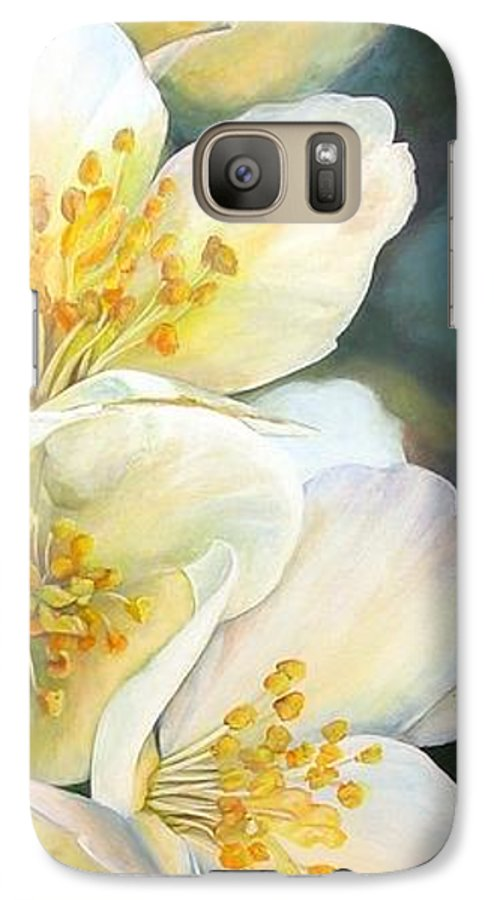 Floral Painting Galaxy S7 Case featuring the painting Eglantine by Muriel Dolemieux