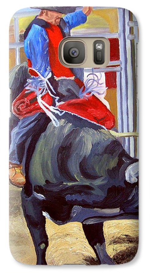 Bull Riding Galaxy S7 Case featuring the painting Eight Long Seconds by Michael Lee