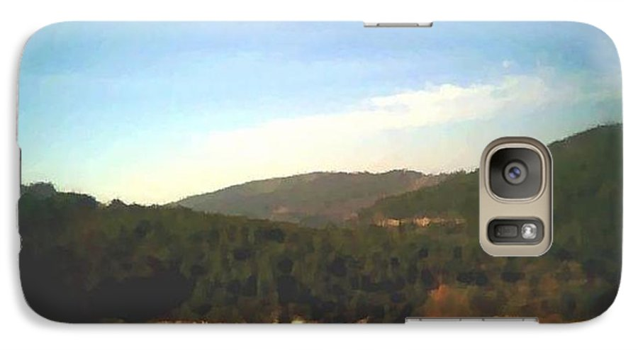 Sky.blue.little Clouds.foresty Hills.low Hills.forest.valley.trees.rest.silence.calm. Galaxy S7 Case featuring the digital art Ein-kerem Valley by Dr Loifer Vladimir