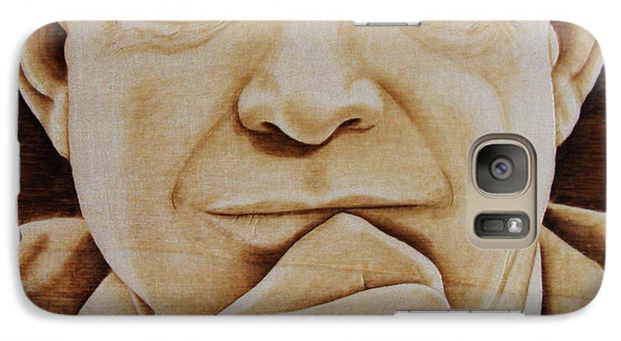 Pyrography; Portrait;; President; Sepia; Human; Eyes; Ears; Eisenhower; Woodburning; Jo Schwartz Galaxy S7 Case featuring the pyrography Eisenhower - The Man by Jo Schwartz