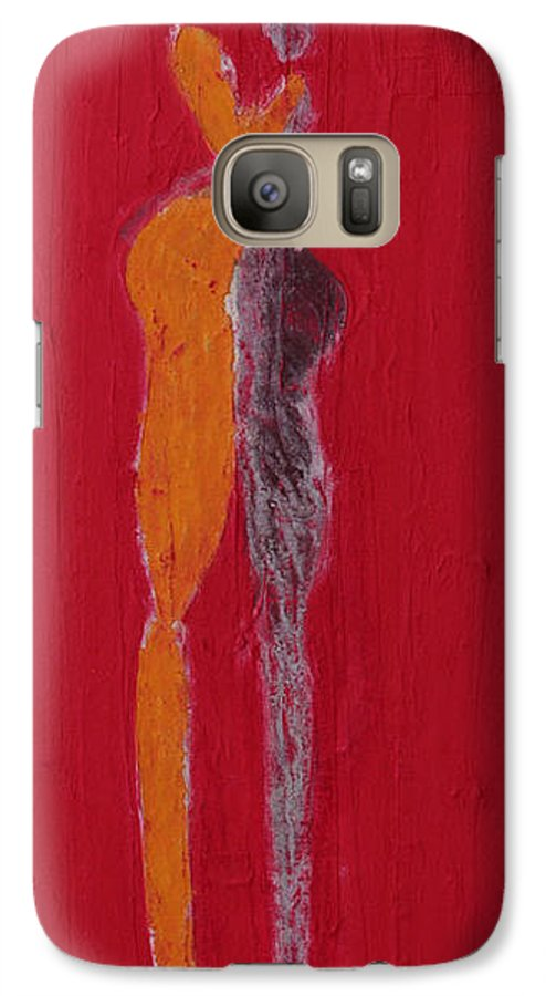 Galaxy S7 Case featuring the painting El Abrazo Serie 44 by Jorge Berlato