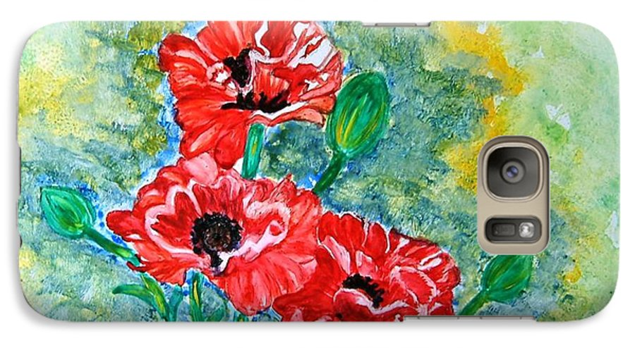 Poppies Flowers Red Yellow Green Blue Acrylic Watercolor Yupo Elegant Landscape Galaxy S7 Case featuring the painting Elegant Poppies by Manjiri Kanvinde