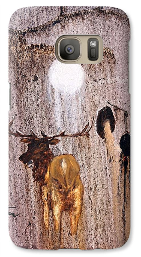 Native Art Galaxy S7 Case featuring the painting Elk Spirit by Patrick Trotter