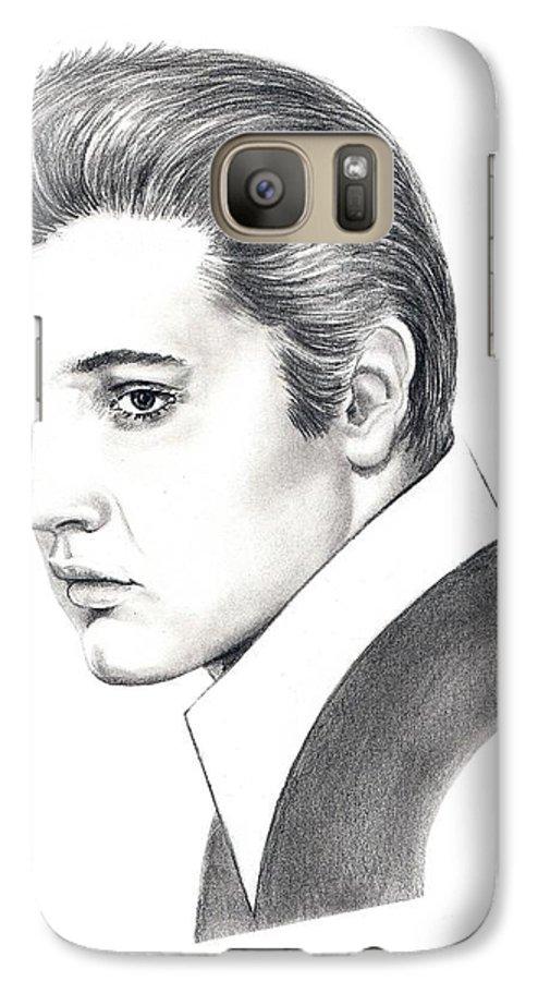 Pencil. Portrait Galaxy S7 Case featuring the drawing Elvis Presley by Murphy Elliott