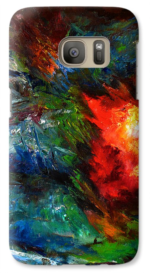 Abstract Galaxy S7 Case featuring the painting Embrace by Lou Ewers