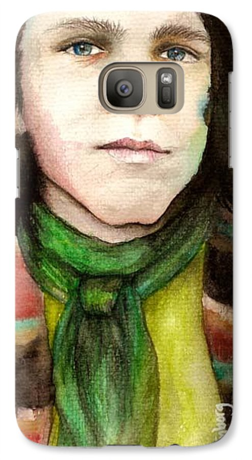Boy Galaxy S7 Case featuring the drawing Emil by Freja Friborg