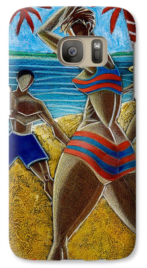 Beach Galaxy S7 Case featuring the painting En Luquillo Se Goza by Oscar Ortiz