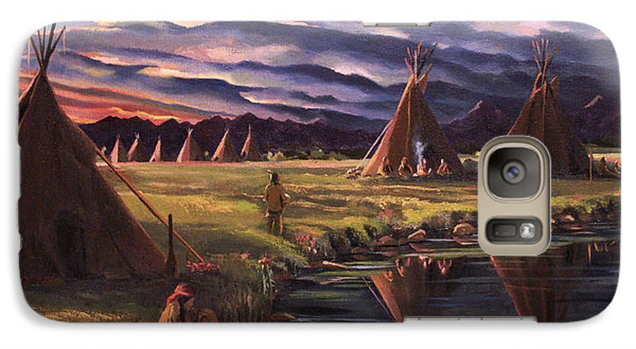 Native American Galaxy S7 Case featuring the painting Encampment At Dusk by Nancy Griswold