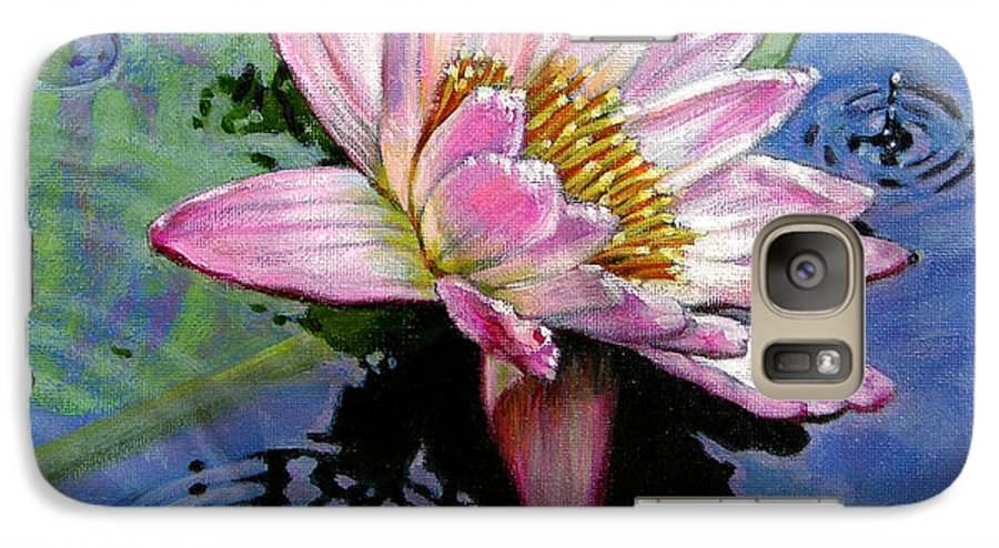Water Lily Galaxy S7 Case featuring the painting End Of Summer Shower by John Lautermilch
