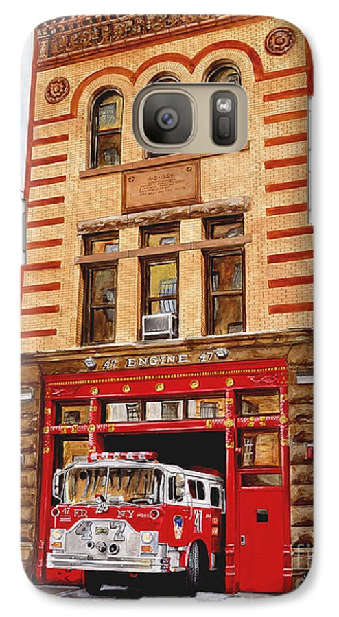 Firehouse Galaxy S7 Case featuring the painting Engine Company 47 by Paul Walsh