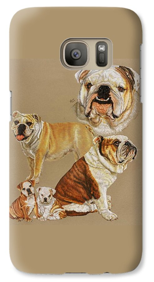 Purebred Galaxy S7 Case featuring the drawing English Bulldog by Barbara Keith