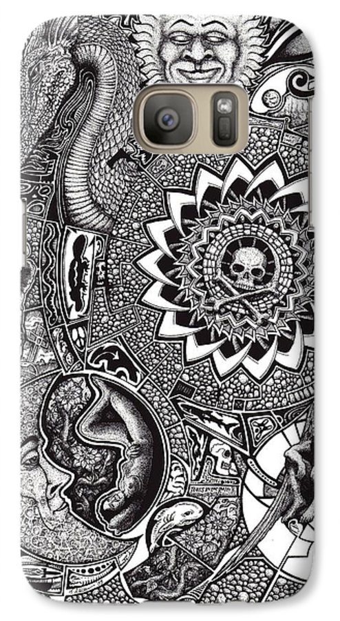 Black And White Galaxy S7 Case featuring the drawing Epiphany by Tobey Anderson