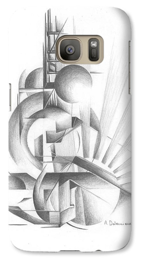 Abstract Galaxy S7 Case featuring the drawing Equilibre by Muriel Dolemieux