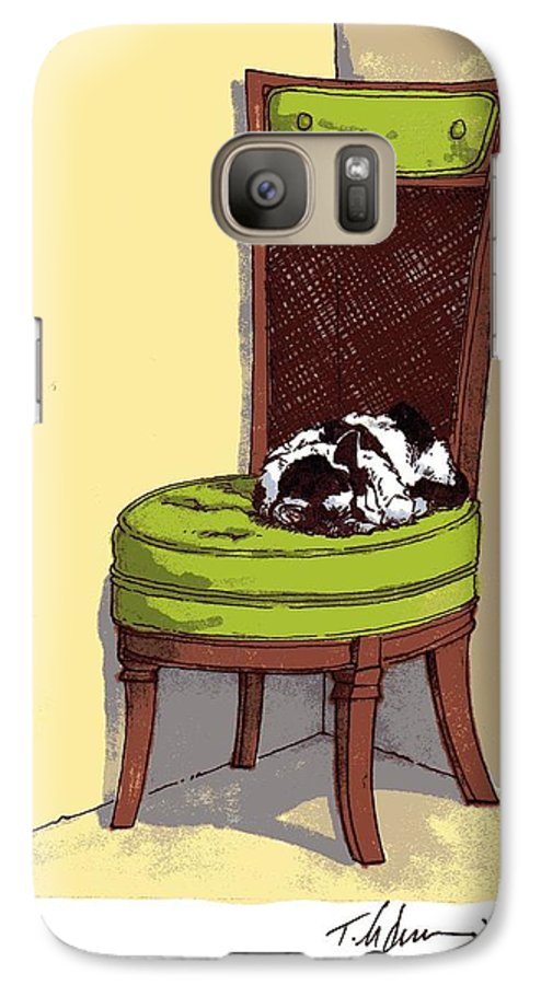 Cat Galaxy S7 Case featuring the drawing Ernie And Green Chair by Tobey Anderson
