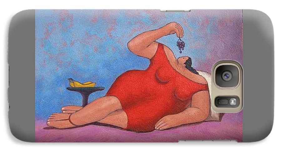Acrylic Galaxy S7 Case featuring the painting Erotic Grapes by Vico Vico