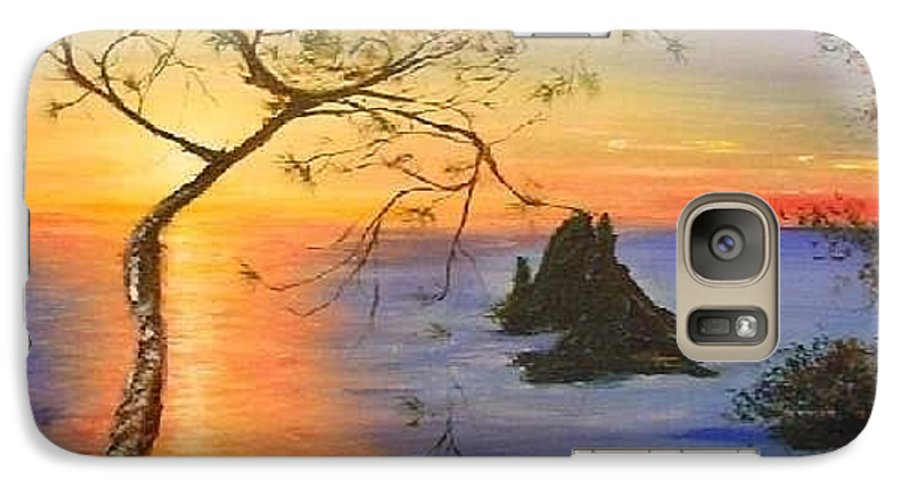 Sunset Galaxy S7 Case featuring the painting Es Vedra Island Off Ibiza South Coast by Lizzy Forrester