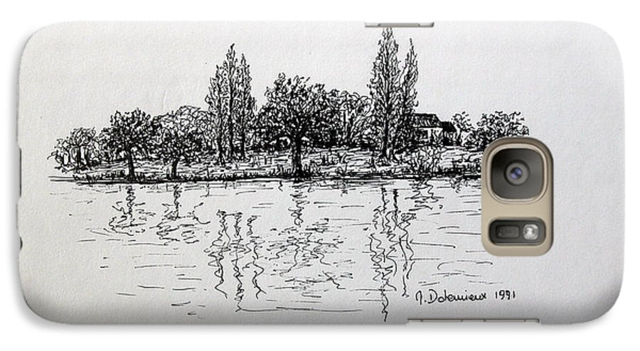 Landscape Galaxy S7 Case featuring the drawing Etang by Muriel Dolemieux