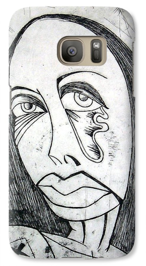 Girl Galaxy S7 Case featuring the print Etching by Thomas Valentine